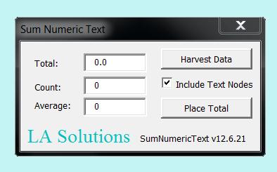 MicroStation Sum Numeric Text with VBA
