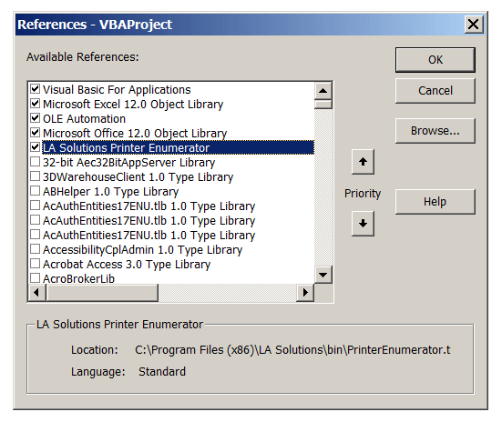 Windows Printer Enumerator for VBA