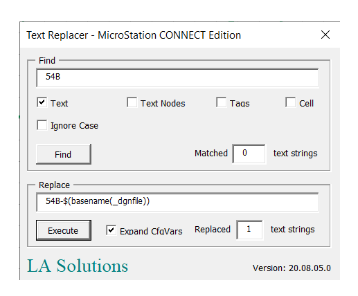 Text Search & Replace for MicroStation